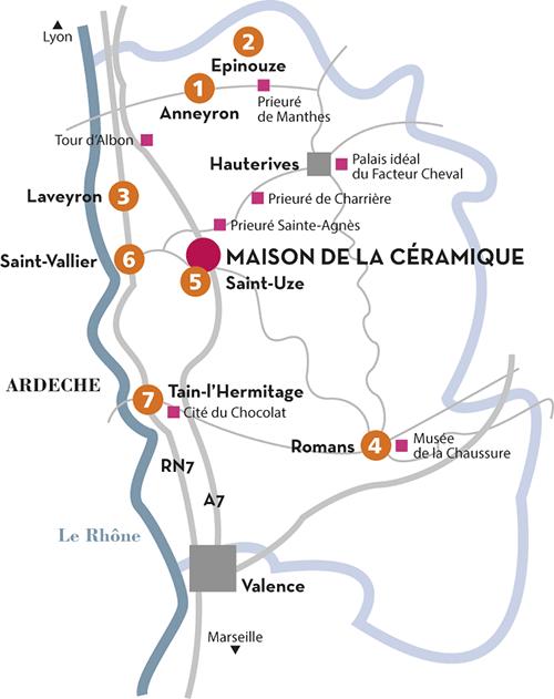 Carte du territoire céramique de la Drôme